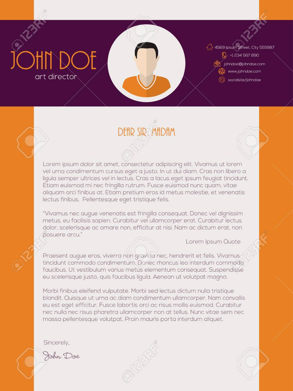 Modern Cover Letter Design With Orange Purple Colors Stock Vector