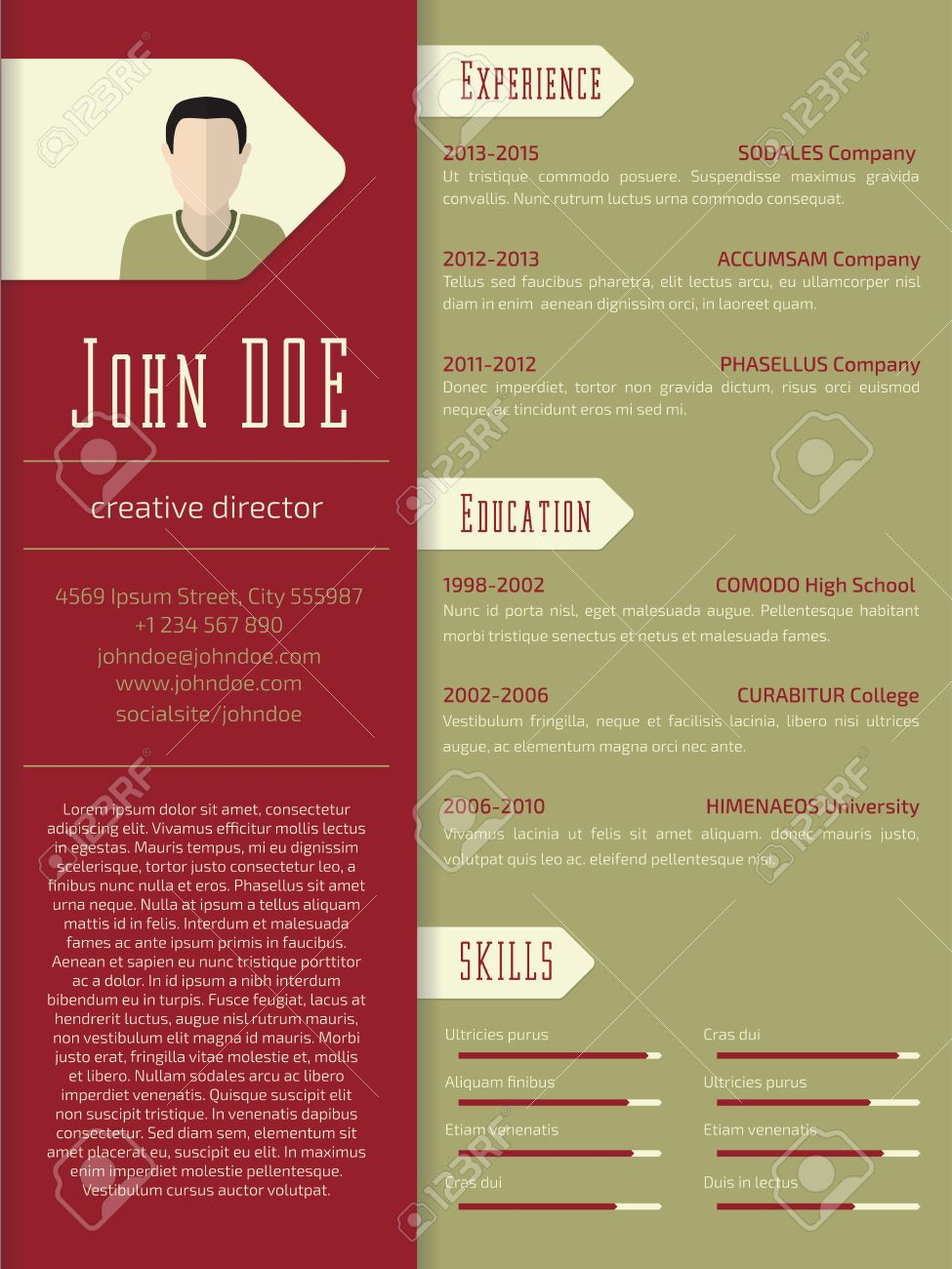 Modern Curriculum Vitae Cv Resume Template Design Royalty Free