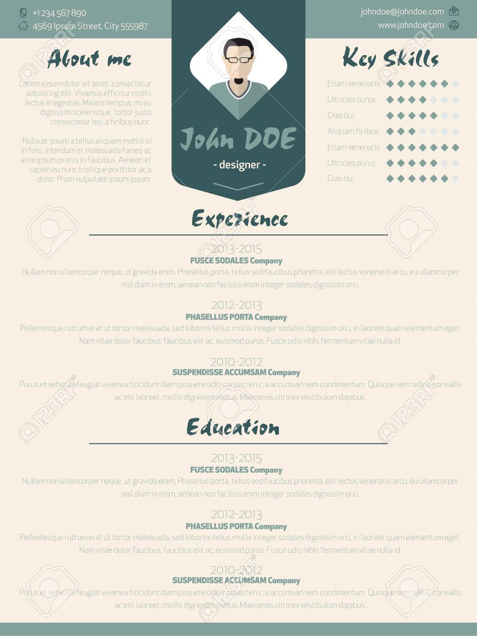cool new modern resume cv curriculum vitae template design with design elements stock vector 41131591 - Elements Of A Resume