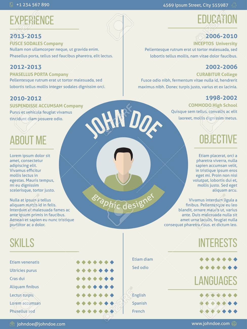 Modern Resume Curriculum Vitae Cv Design With Photo And Name In Center  Stock Vector   41599273  Resume Or Curriculum Vitae