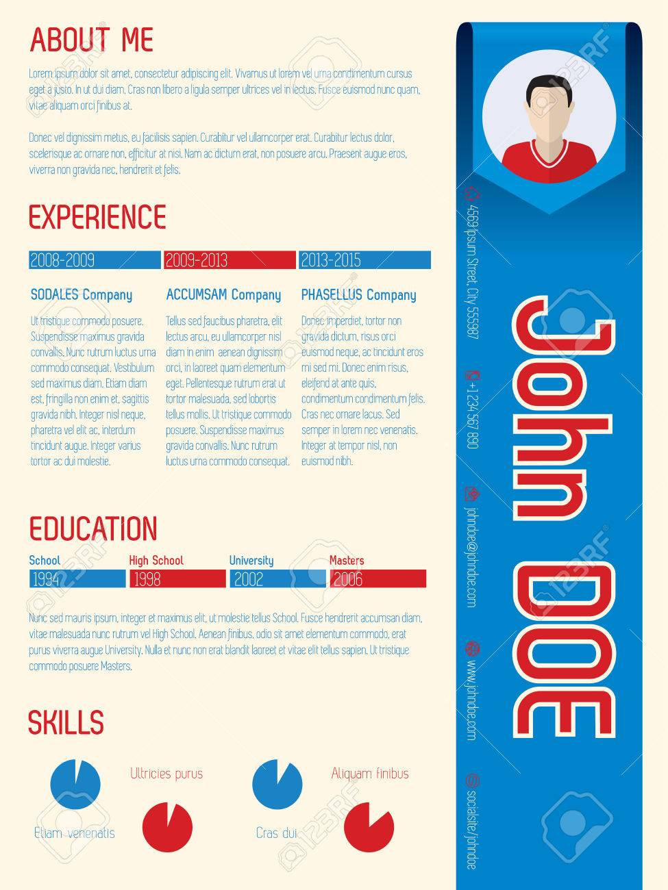 cool modern curriculum vitae template design with arrow ribbon