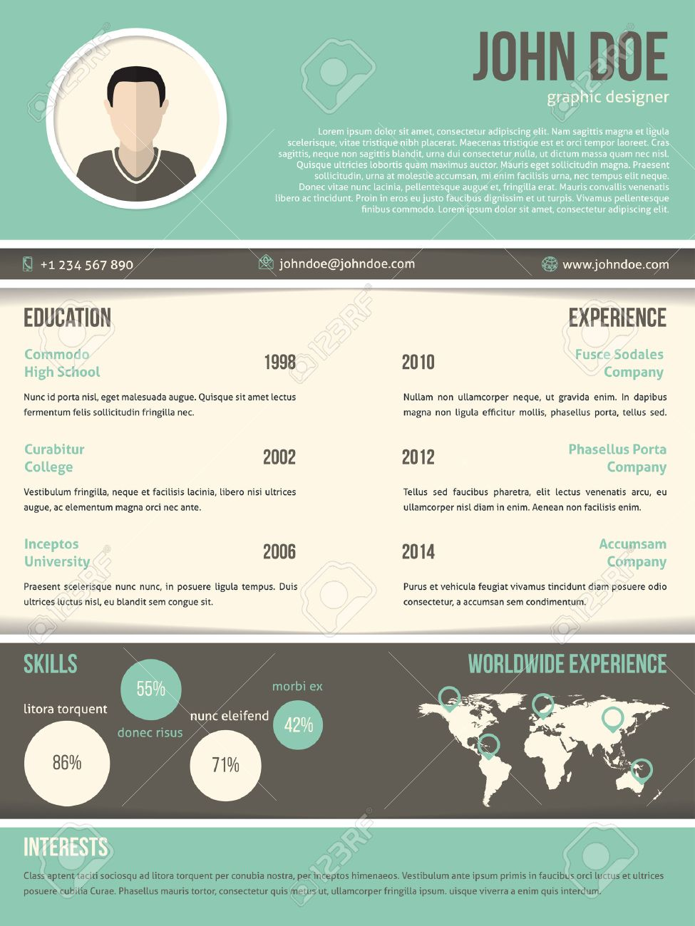Cool Resume Cv Curriculum Vitae Template Design With Dark And