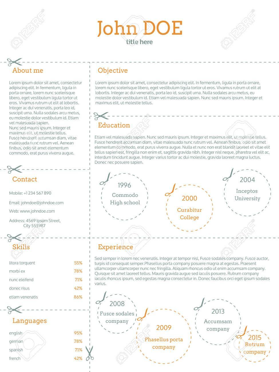 cv resume curriculum vitae template design with cutable categories    vector   cv resume curriculum vitae template design   cutable categories