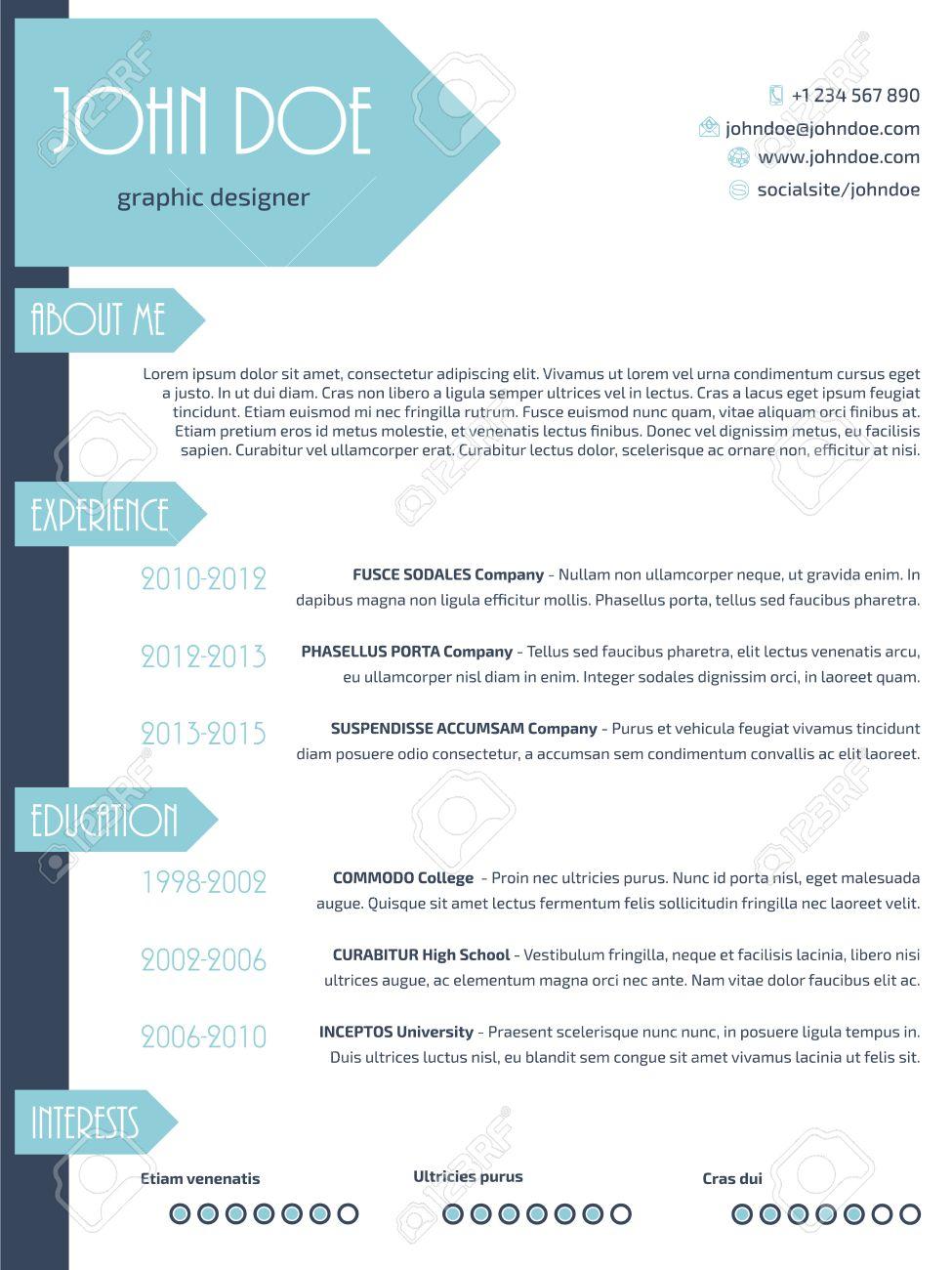 simplistic modern resume curriculum vitae cv template design