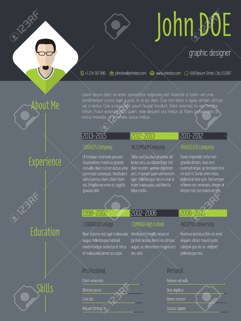 Modern curriculum vitae resume cv template with photo and dark modern curriculum vitae resume cv template with photo and dark background stock vector 43218919 yelopaper Images