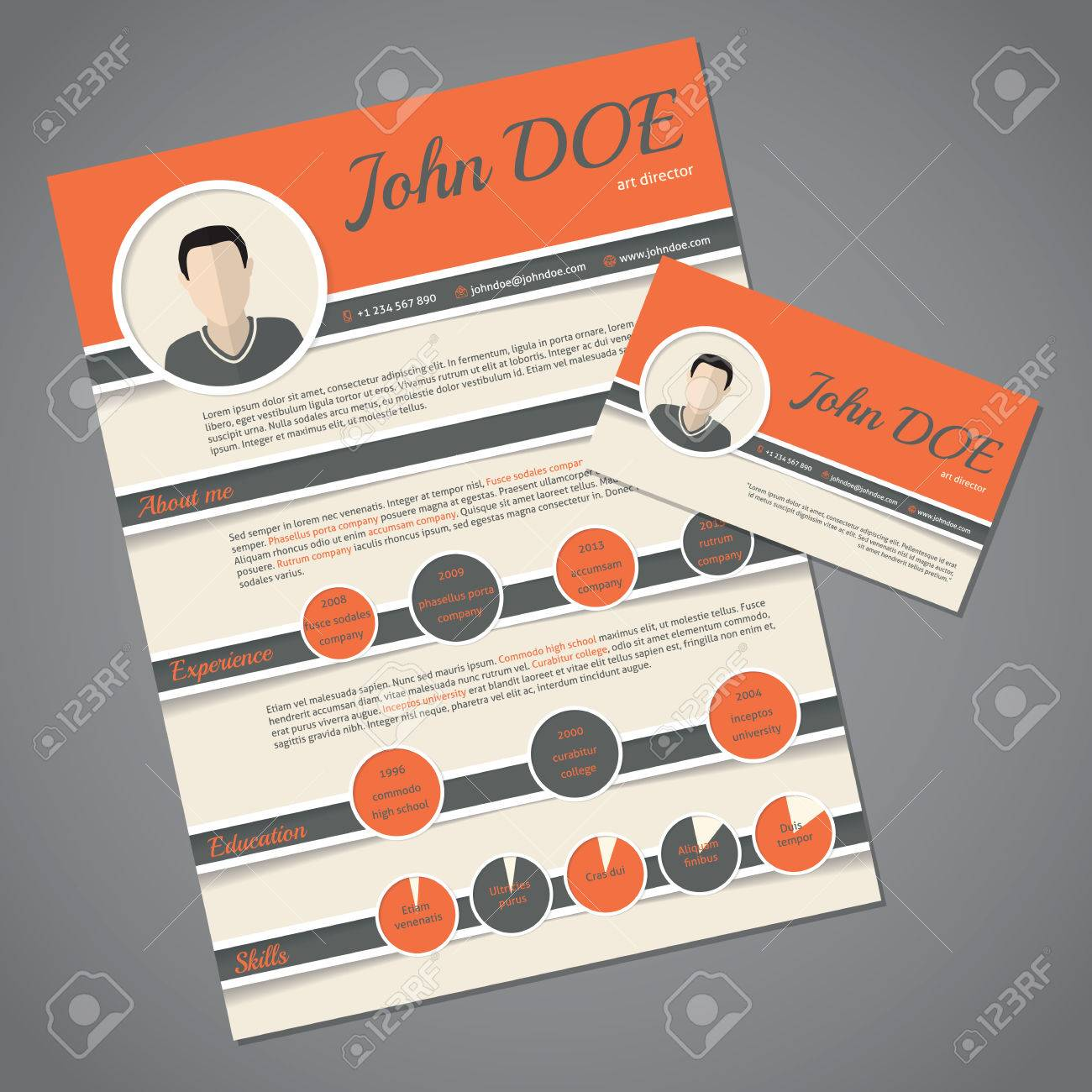 resume Resume Business Cards curriculum vitae resume cv template design with business card stock vector 44241544