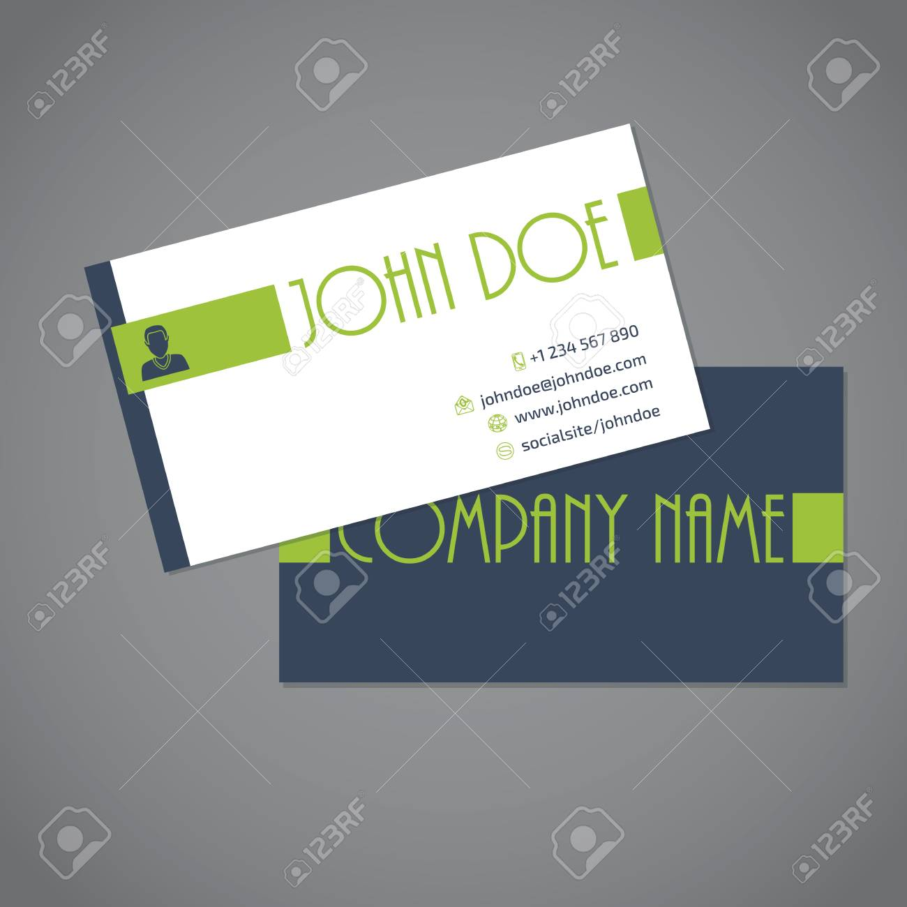 Simplistic Business Card With Two Sides Design Royalty Free Cliparts ...