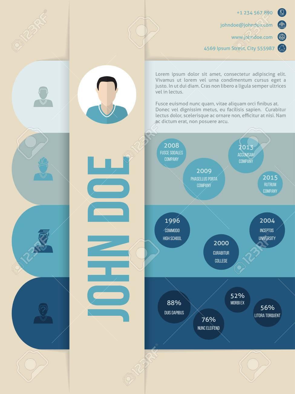 Modern Cv Curriculum Vitae Resume Template Design In Blue Shades