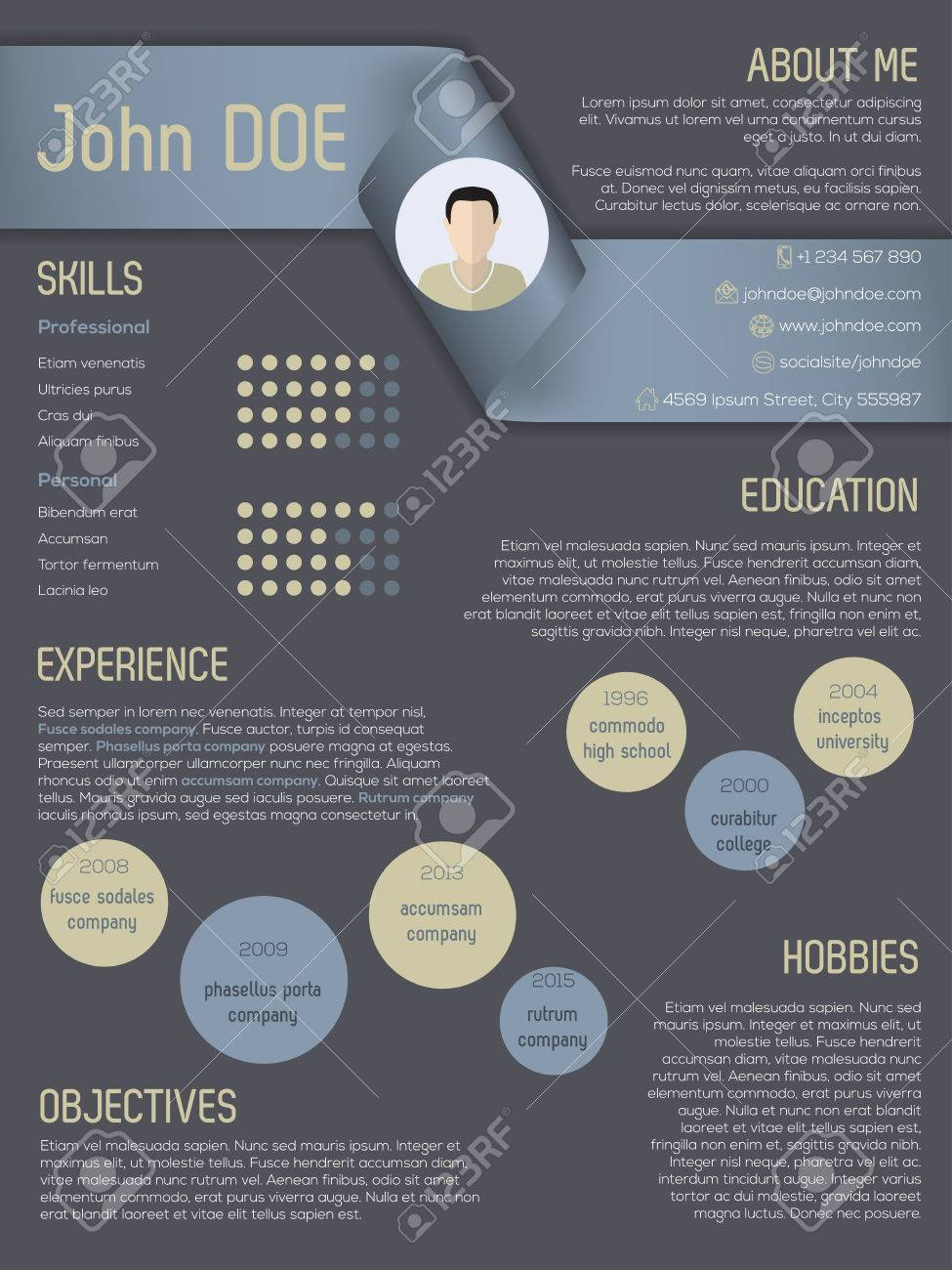 Modern Curriculum Vitae Cv Resume Template Design With Ribbon