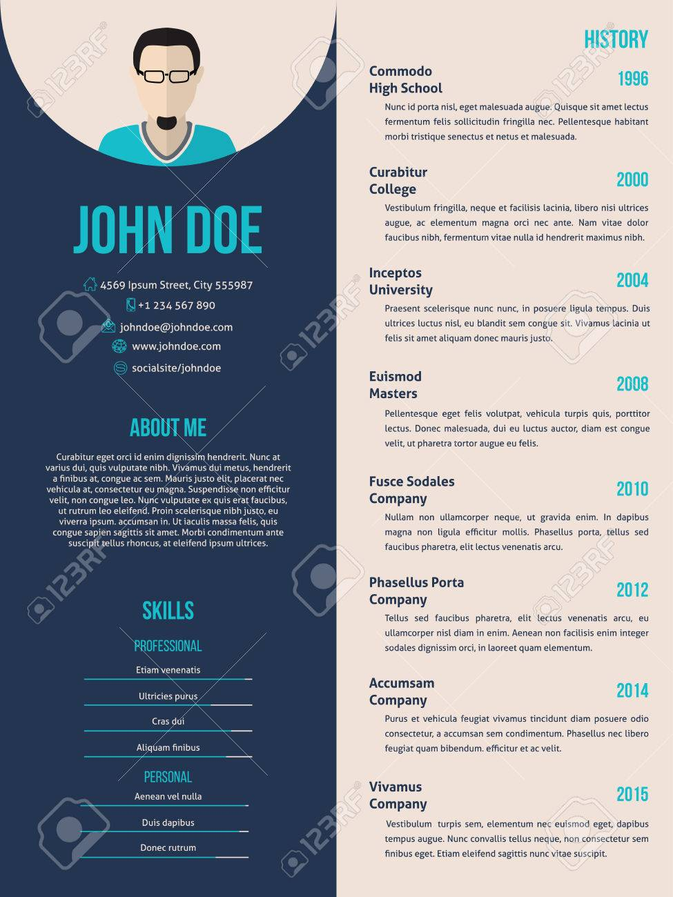 New Curriculum Vitae Cv Resume Template Design Royalty Free Cliparts