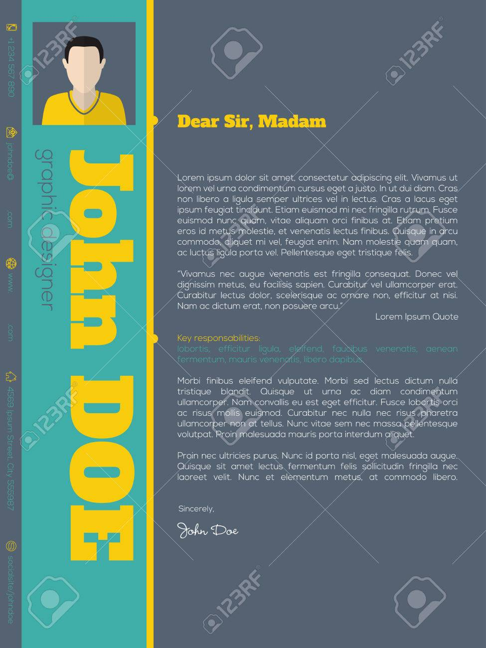 Modern Cover Letter Cv Resume Template Design With Vivid Colors Stock Vector