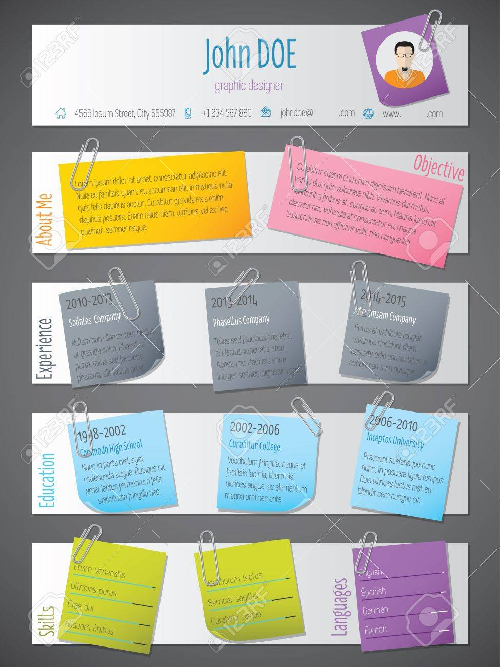 Modern Resume Cv Curriculum Vitae Template Design With Notices