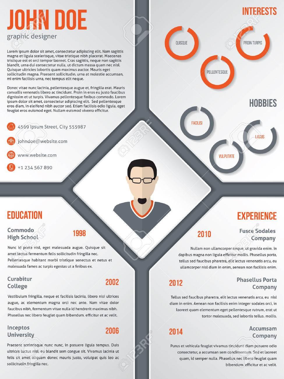 Diseño Del Modelo De Curriculum Vitae Cv Hoja De Vida Moderna Con La ...
