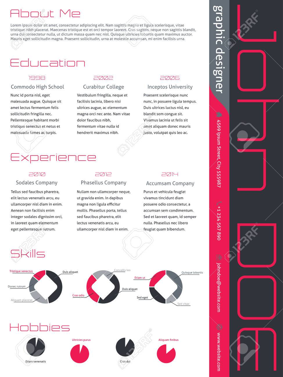 Modern Curriculum Vitae Cv Resume Template Design In Pink Gray