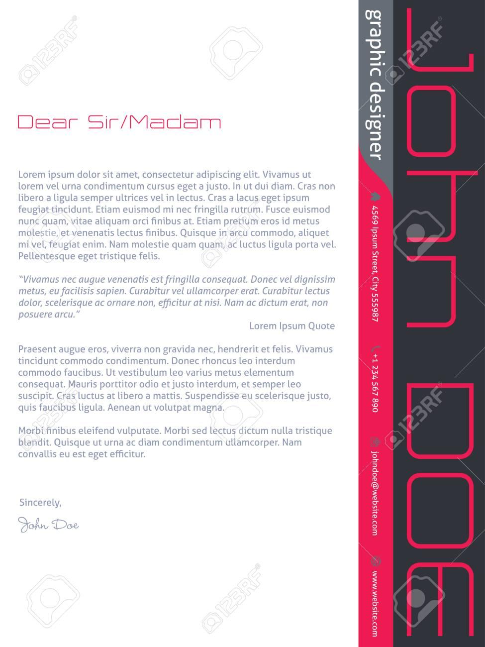 Diseño De Plantilla De Carta De Presentación Cv Hoja De Vida Moderna ...