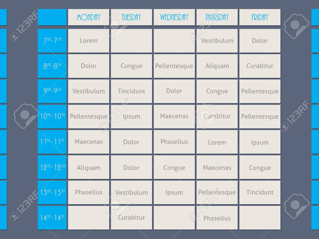 Blue Timetable Template Design Flat Style With Sample Text Royalty