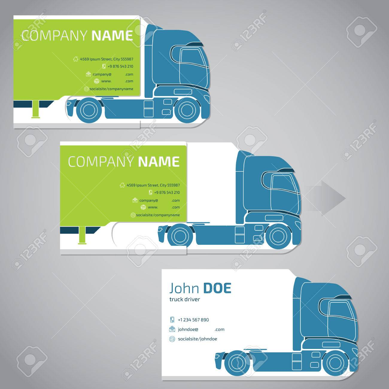 Two piece business card template design with truck and trailer two piece business card template design with truck and trailer stock vector 49514860 cheaphphosting Gallery