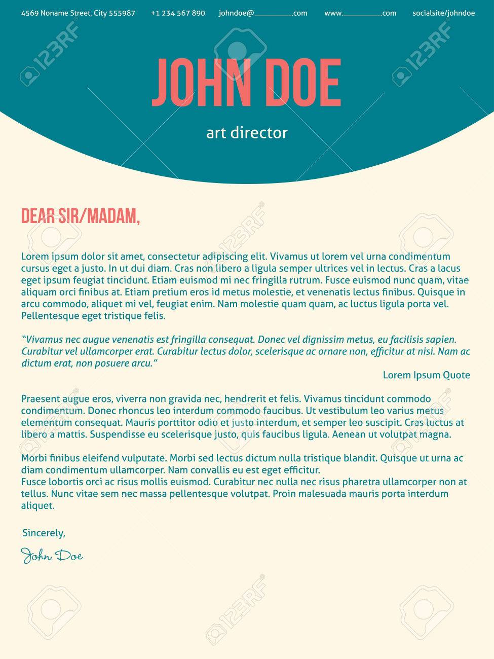 Modern Cover Letter Cv Resume Template Design In Turquoise Red