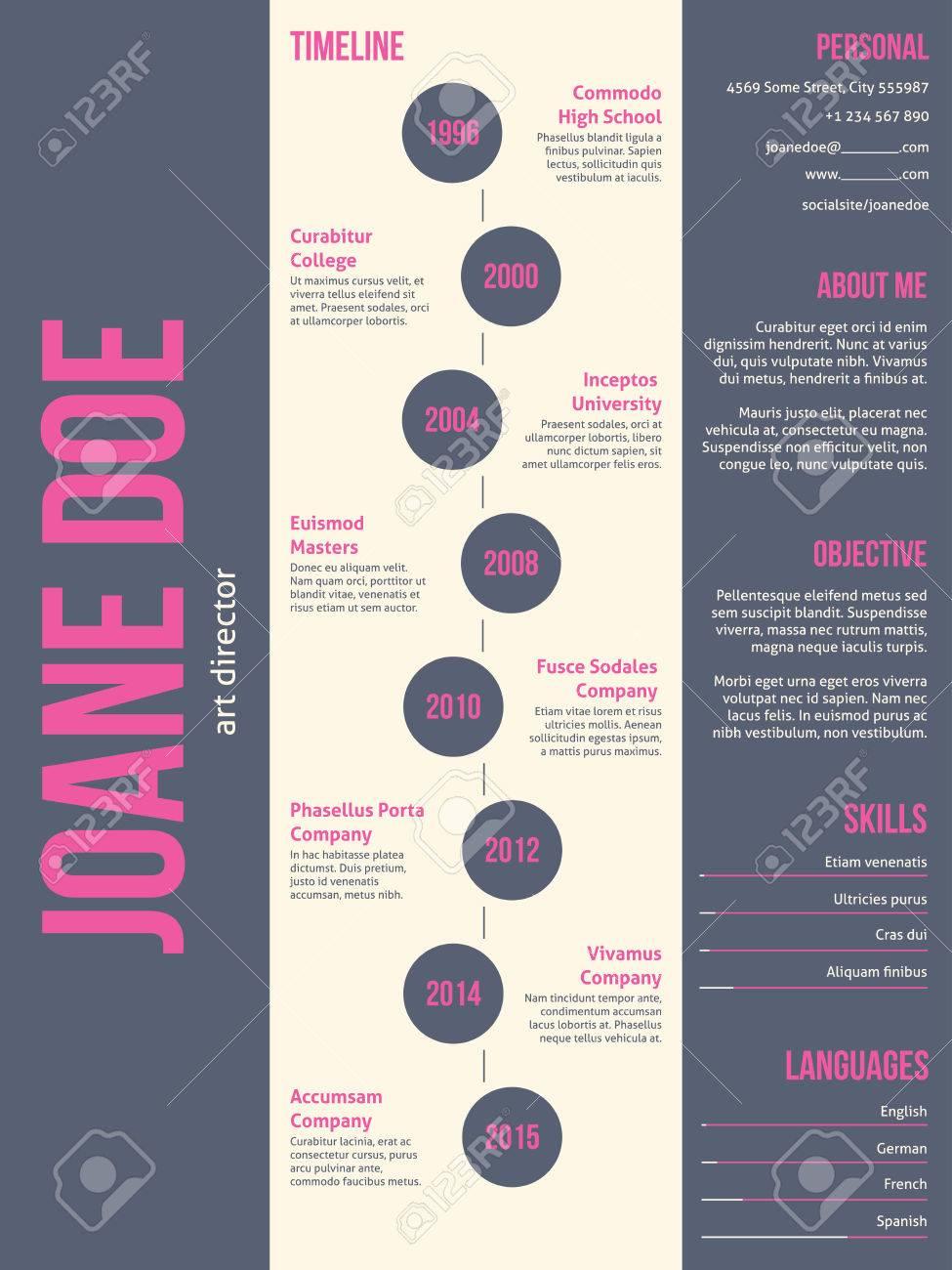 Pink Gray Modern Resume Cv Curriculum Vitae Template Design