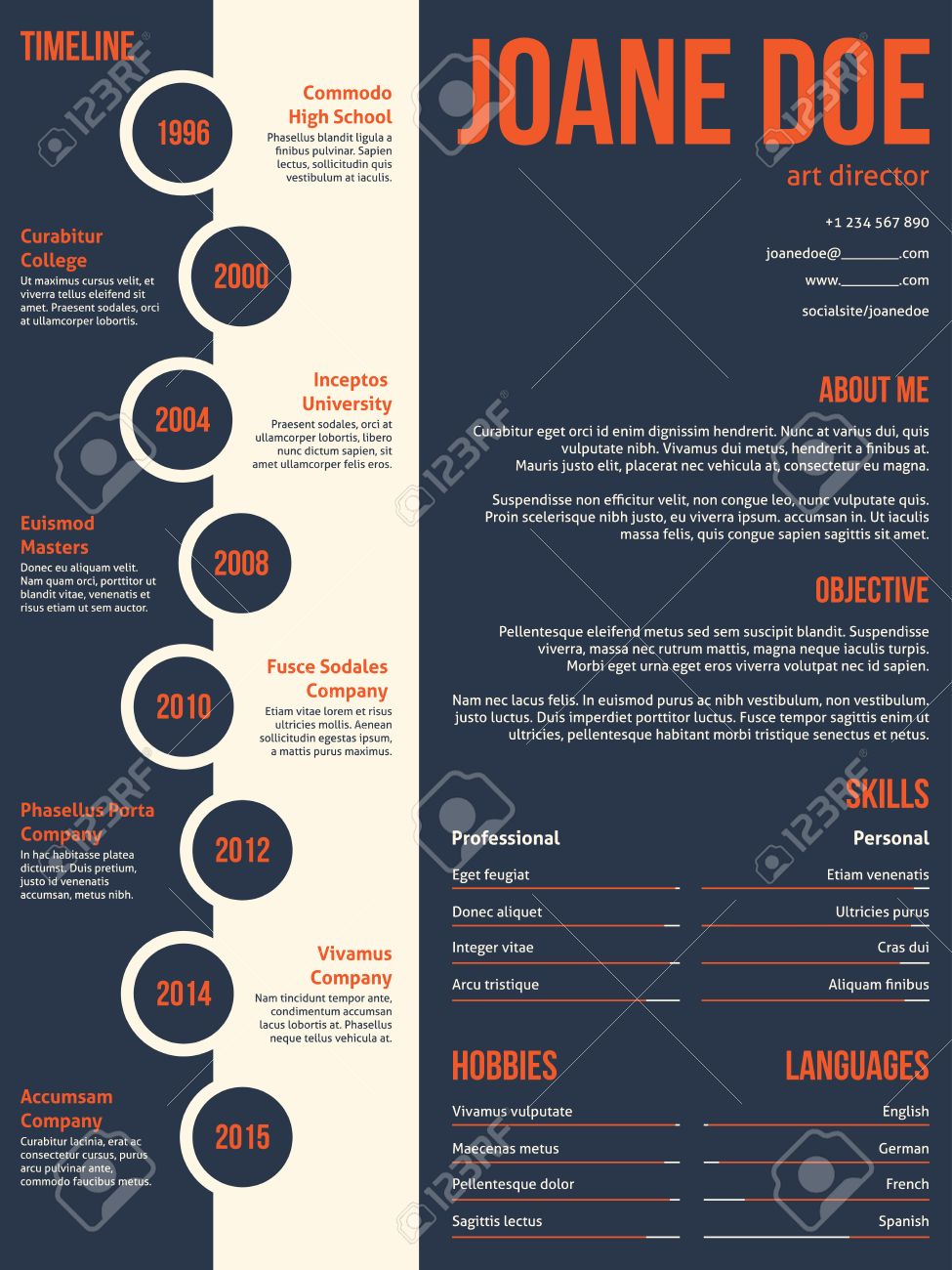 Modern Resume Cv Curriculum Vitae Template Beginning With Timeline ...