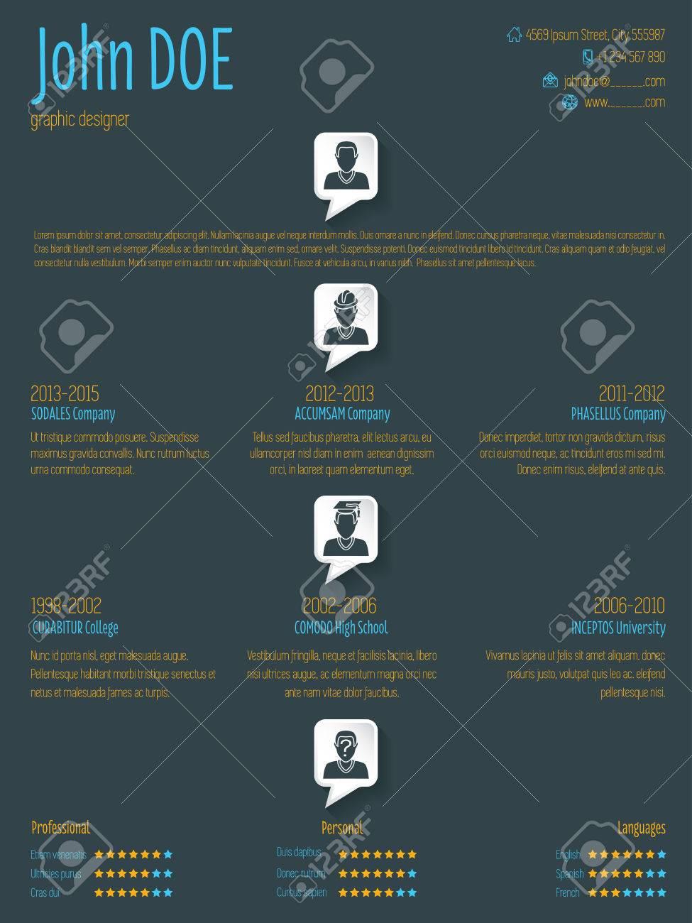 Cool Resume Cv Curriculum Vitae Template Design With Speech Bubbles