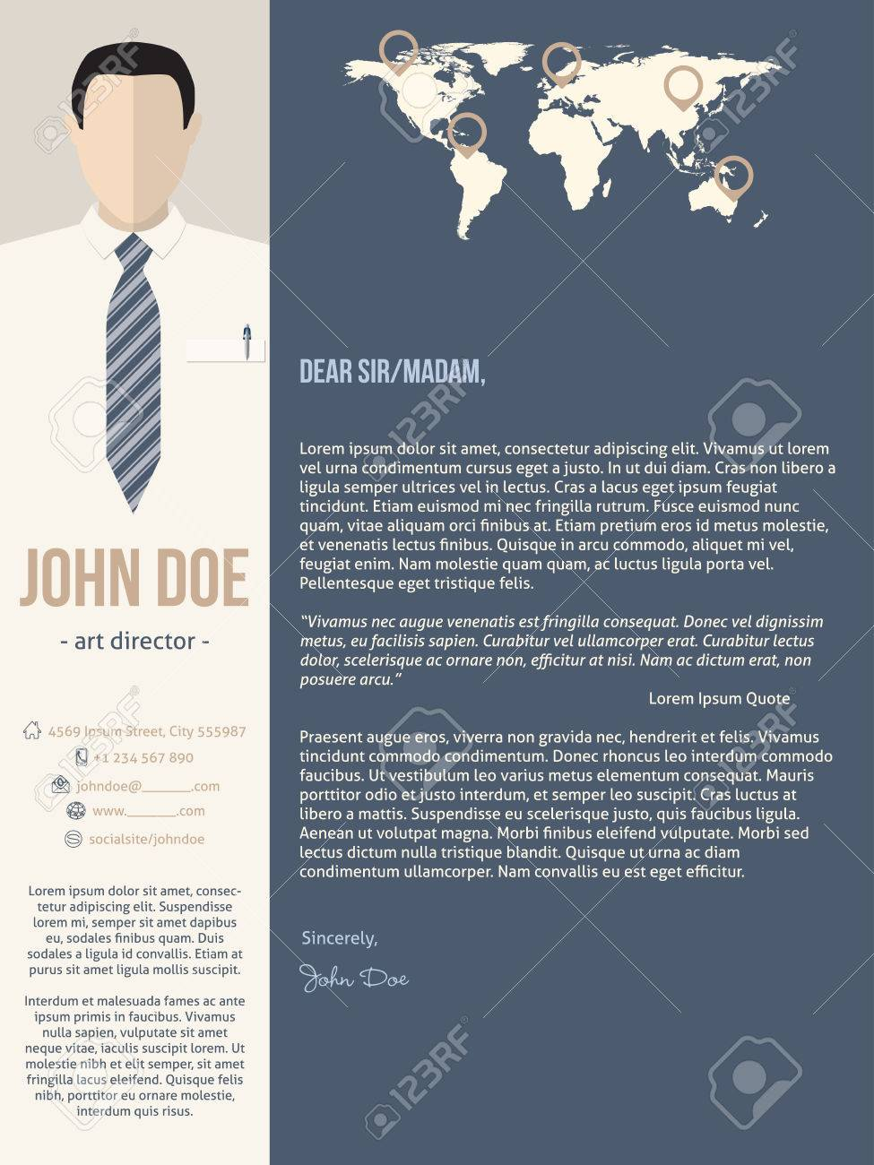 Modern cover letter resume cv template with business man photo modern cover letter resume cv template with business man photo stock vector 53173454 yelopaper Images
