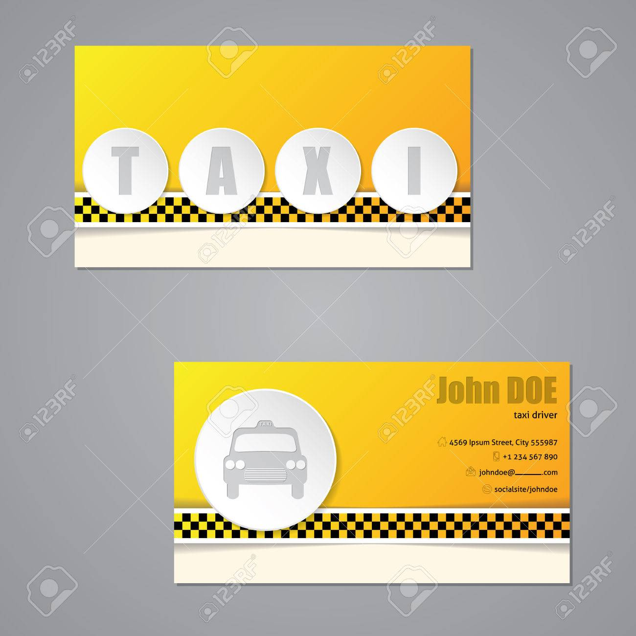 Design Taxi De Modle Carte Visite Avec Des Boutons 3D Clip