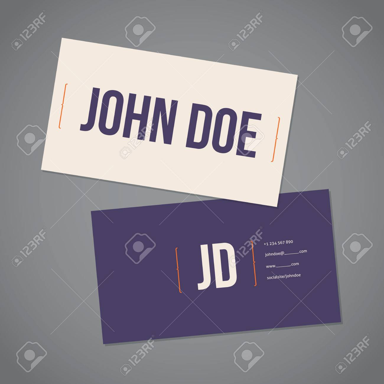Simplistic Flat Business Card Template Design With Curly Brackets ...
