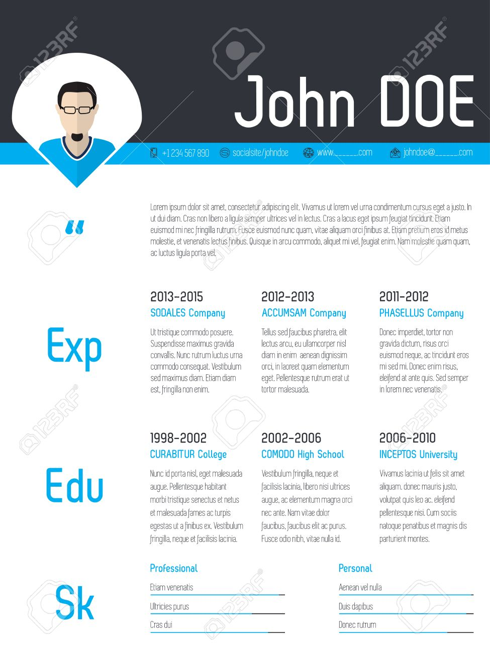 Modern Resume Cv Curriculum Vitae Template Design With Photo