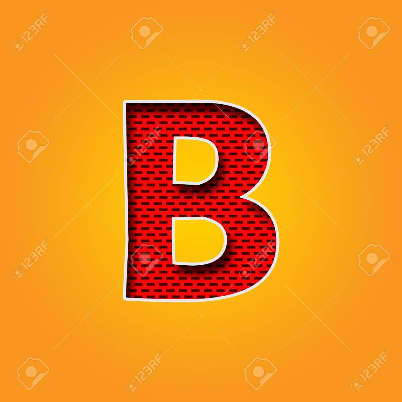 Police De Caractère Unique B En Alphabet De Couleur Orange Et Jaune ...