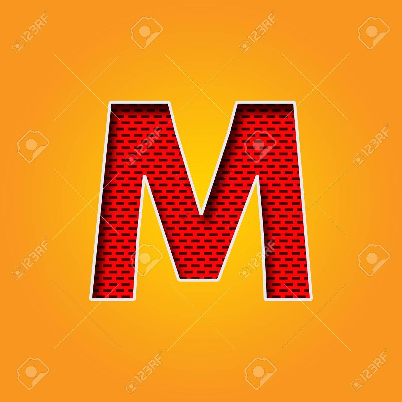 Police de caractère unique M en Alphabet de couleur orange et jaune