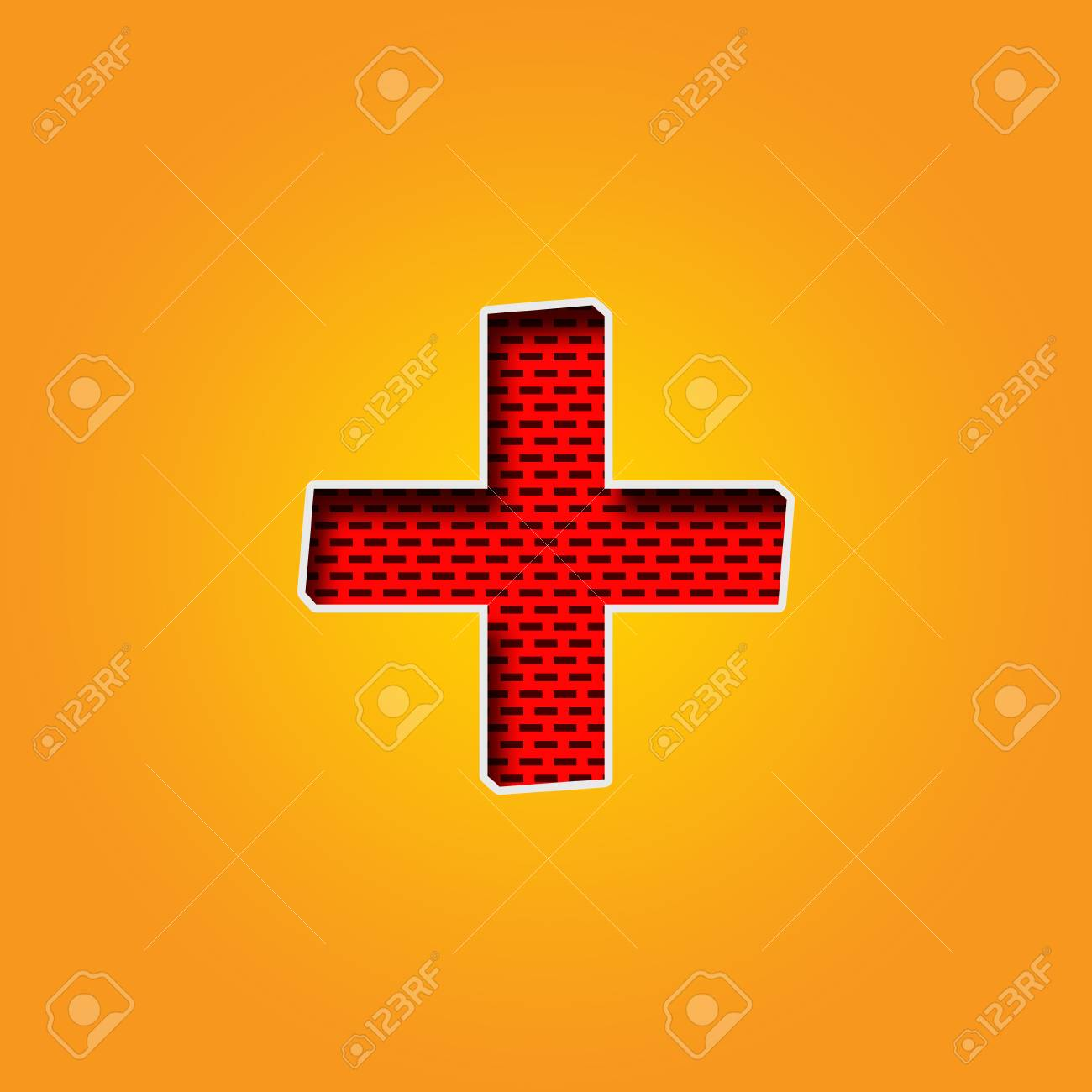 Single Character + Plus Sign Font In Orange And Yellow Color.. Stock ...