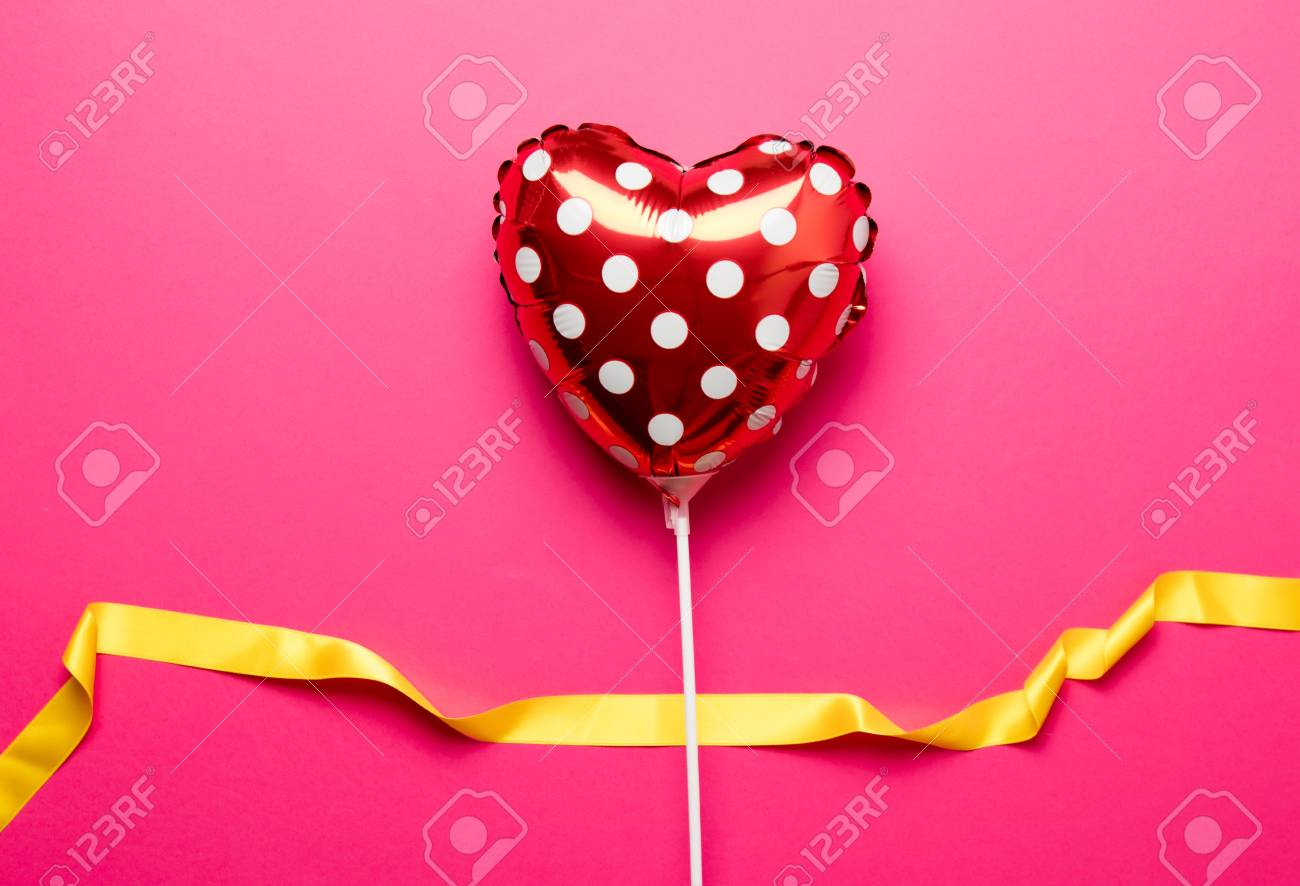 Air Inflatable Heart Shape Toy On Pink Background Stock Photo   79983215