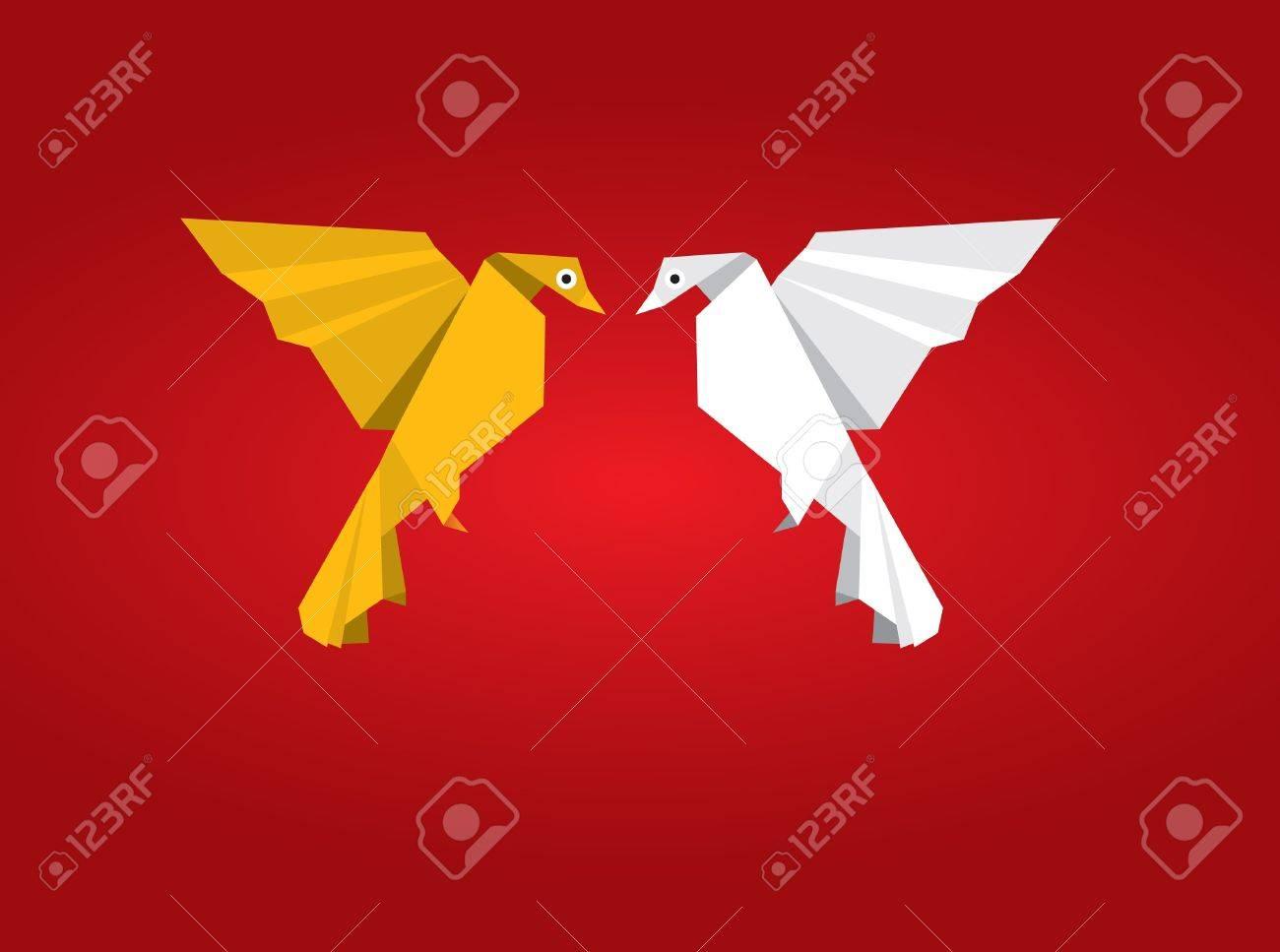 Origami Couple Bird Stock Vector - 10415624