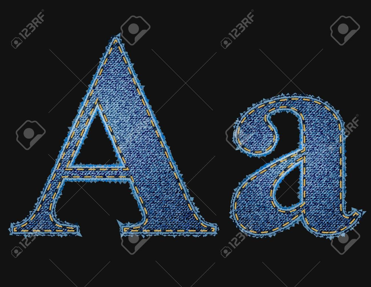 Vector jean fabric letters Stock Vector - 12851531