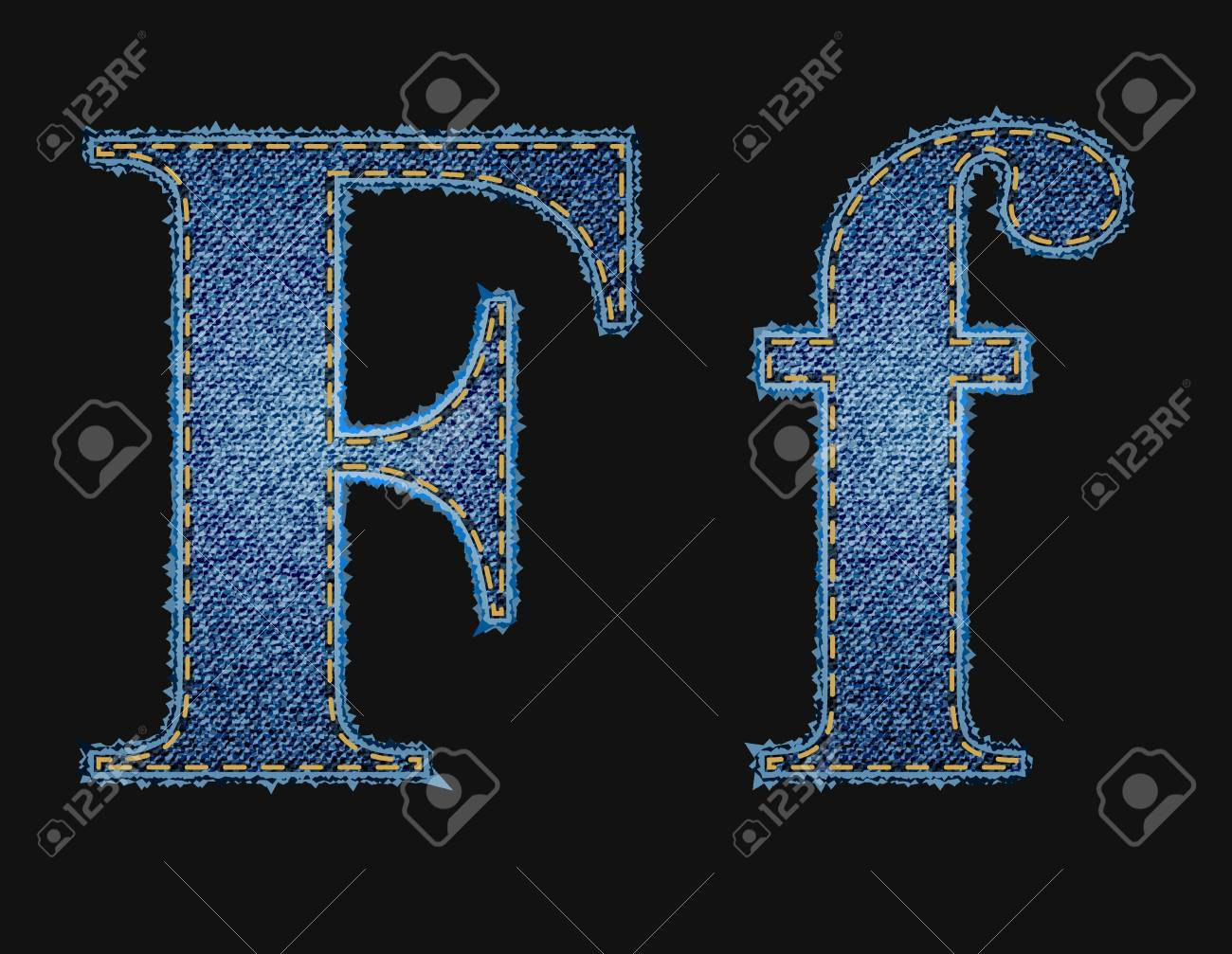 Vector jean fabric letters Stock Vector - 12851525