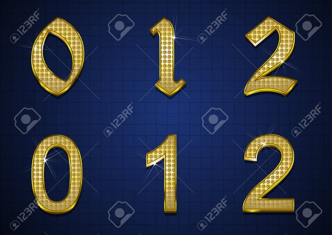Luxurious numbers designed with gold diamonds Stock Vector - 17598181