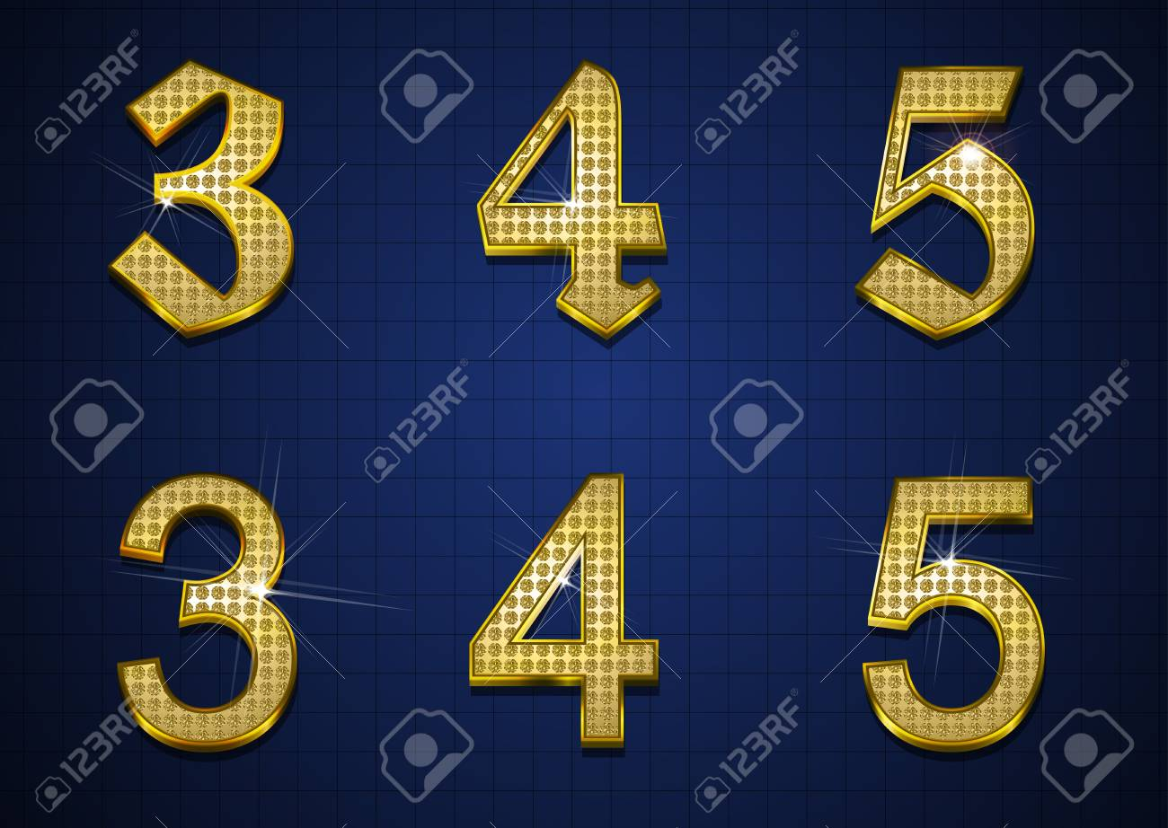 Luxurious numbers designed with gold diamonds Stock Vector - 17598185