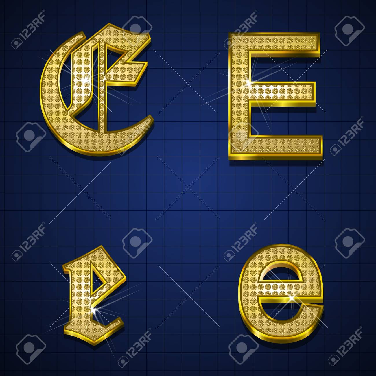 Luxurious alphabets designed with gold diamonds Stock Vector - 17598168