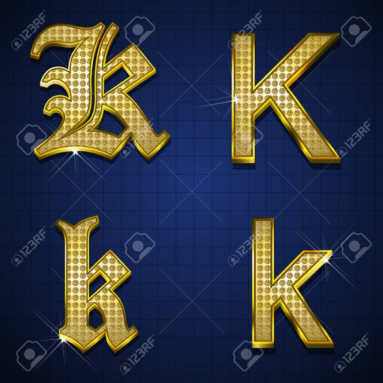 Luxurious alphabets designed with gold diamonds Stock Vector - 17598169