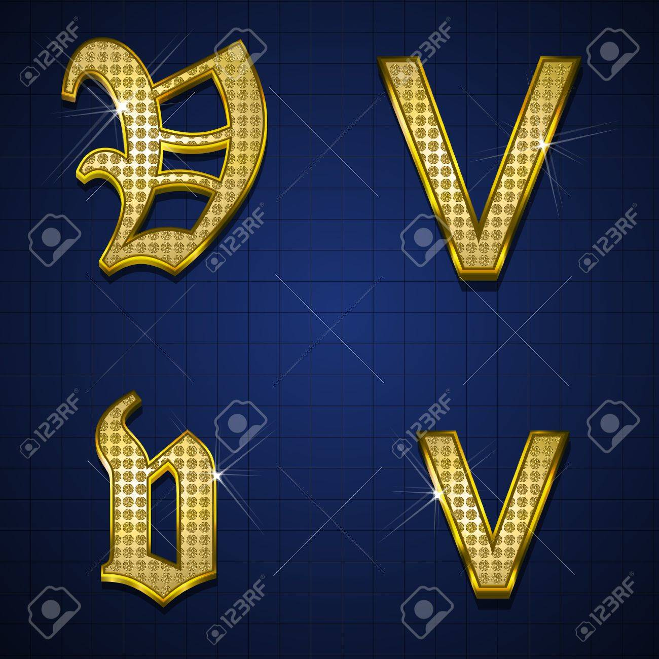 Luxurious alphabets designed with gold diamonds Stock Vector - 17598176