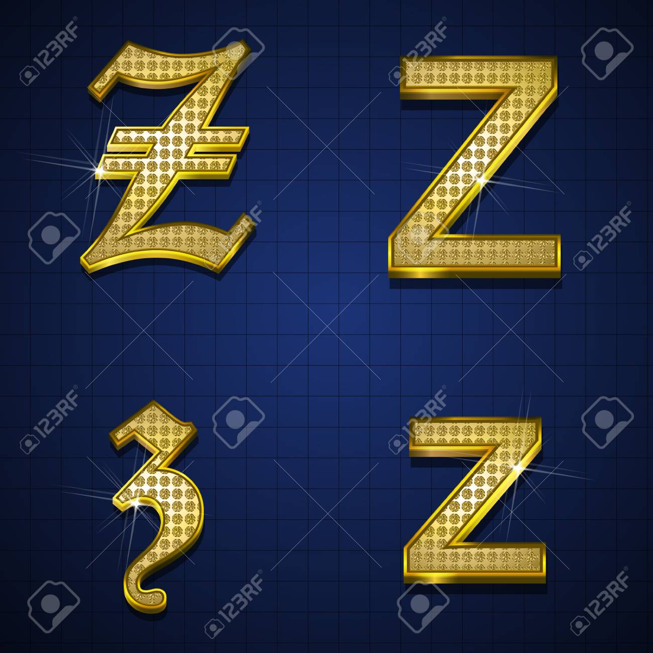 Luxurious alphabets designed with gold diamonds Stock Vector - 17598165