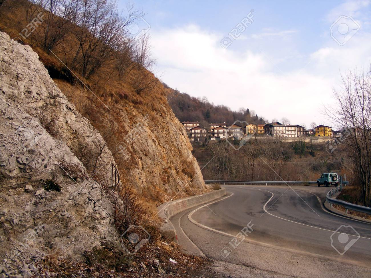 Mountain road and car Stock Photo - 14238655