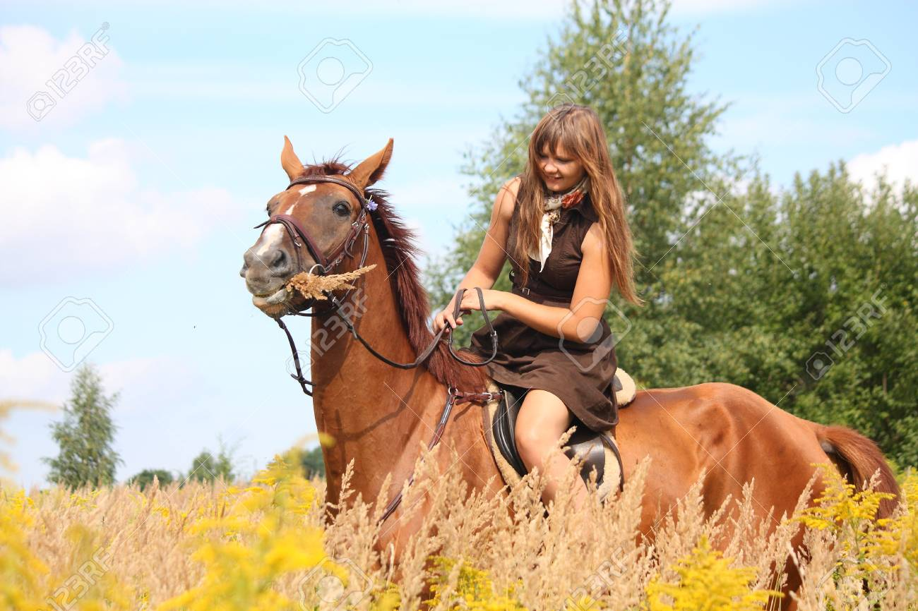 Beautiful teenager girl riding brown horse at the field of flowers Stock Photo - 19983776