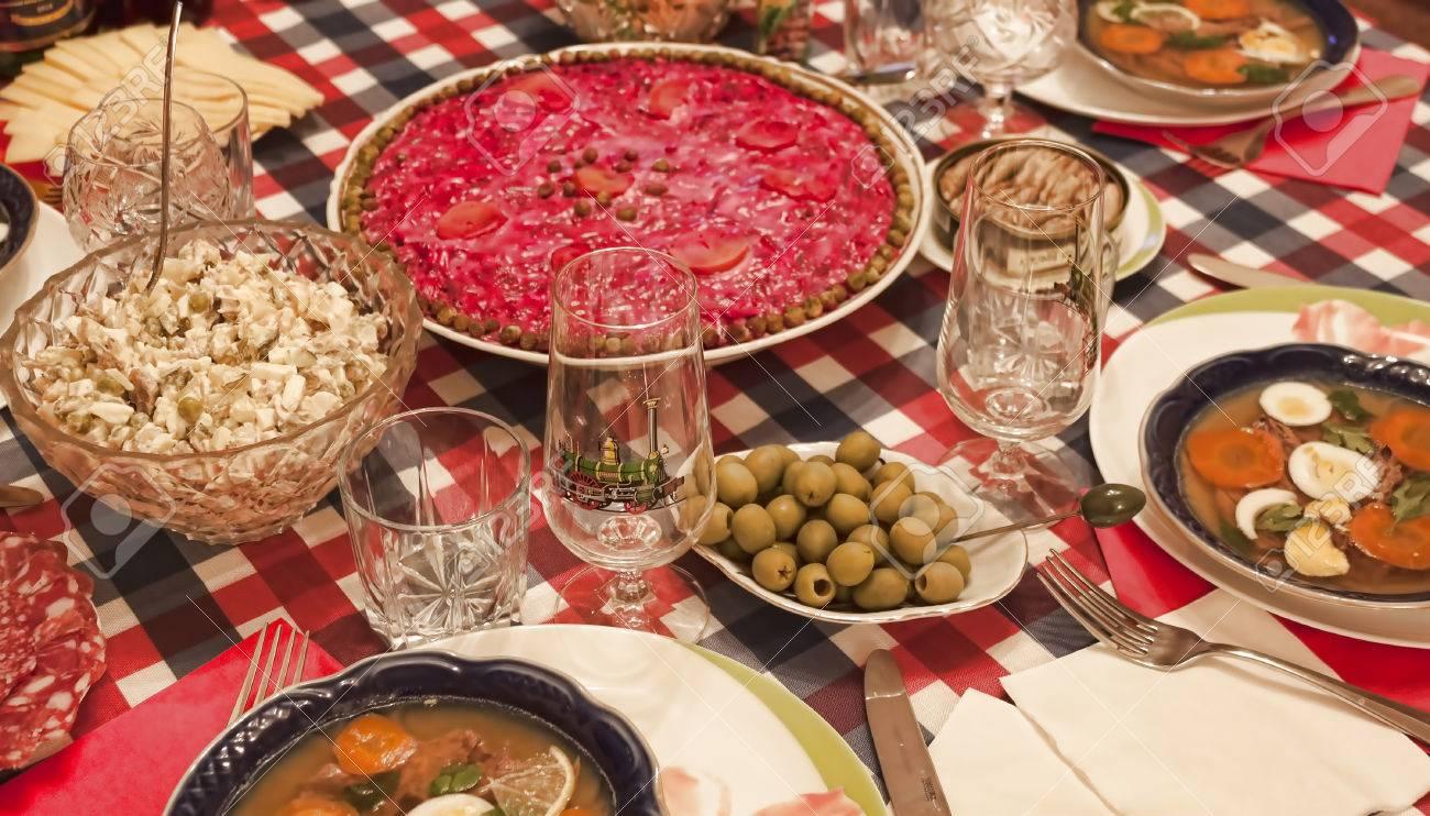 Traditional Ukrainian Christmas Dishes: Dressed Herring, Salad ...