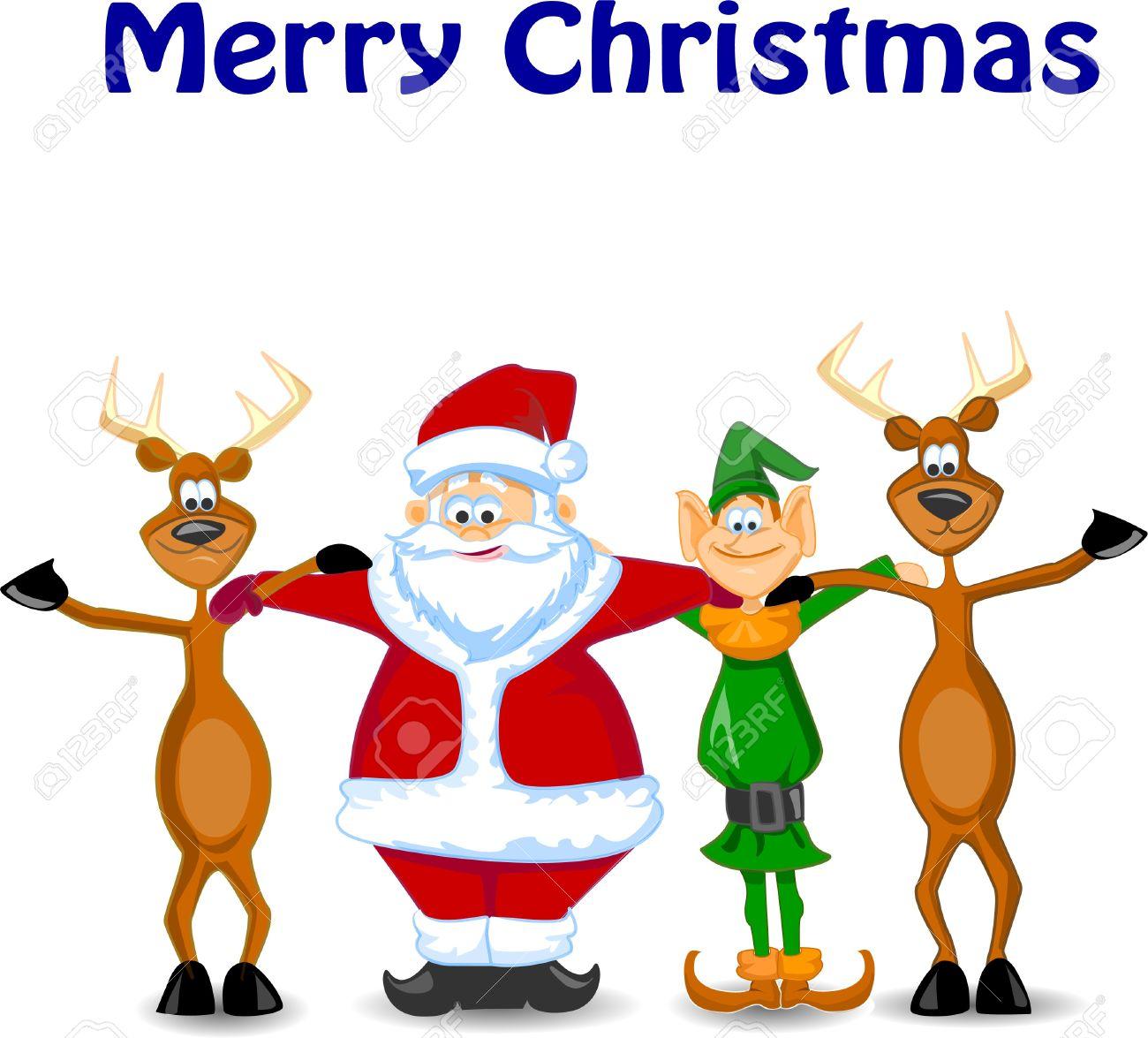 cartoon santa claus elf reindeer royalty free cliparts vectors