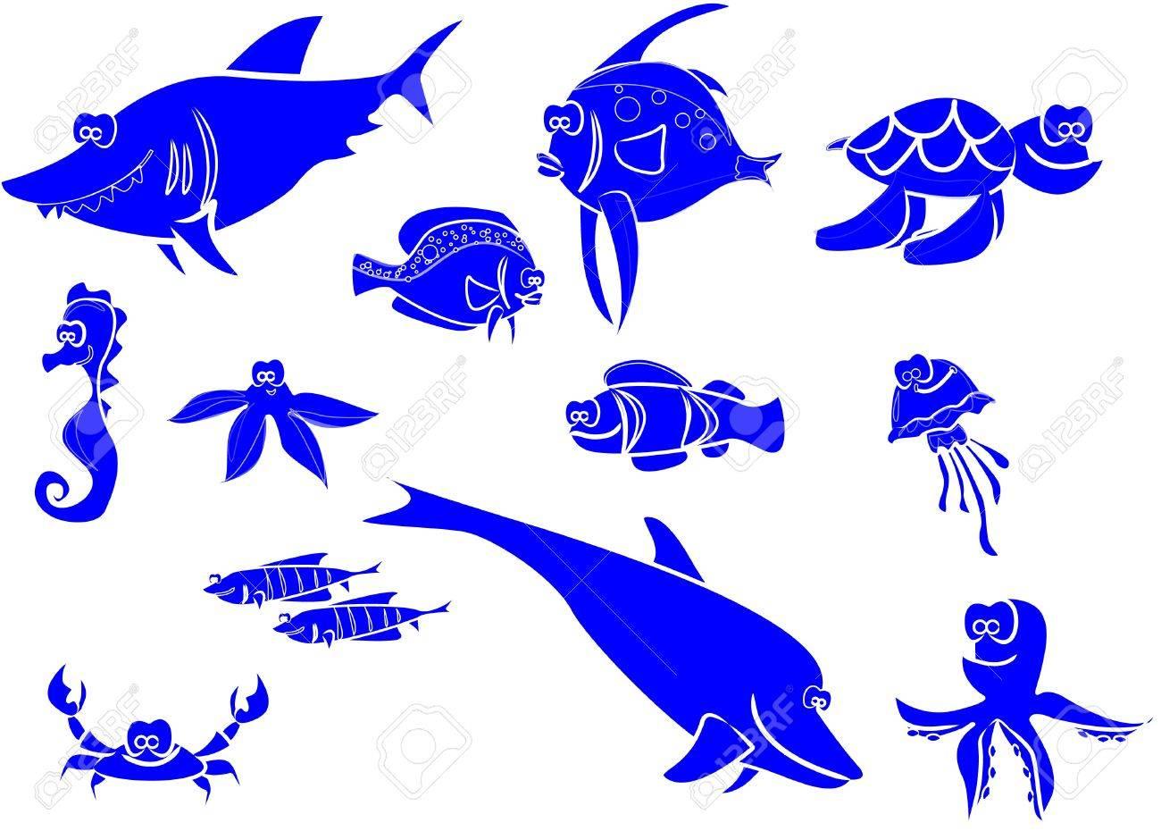 large set of marine fish Stock Vector - 11325640