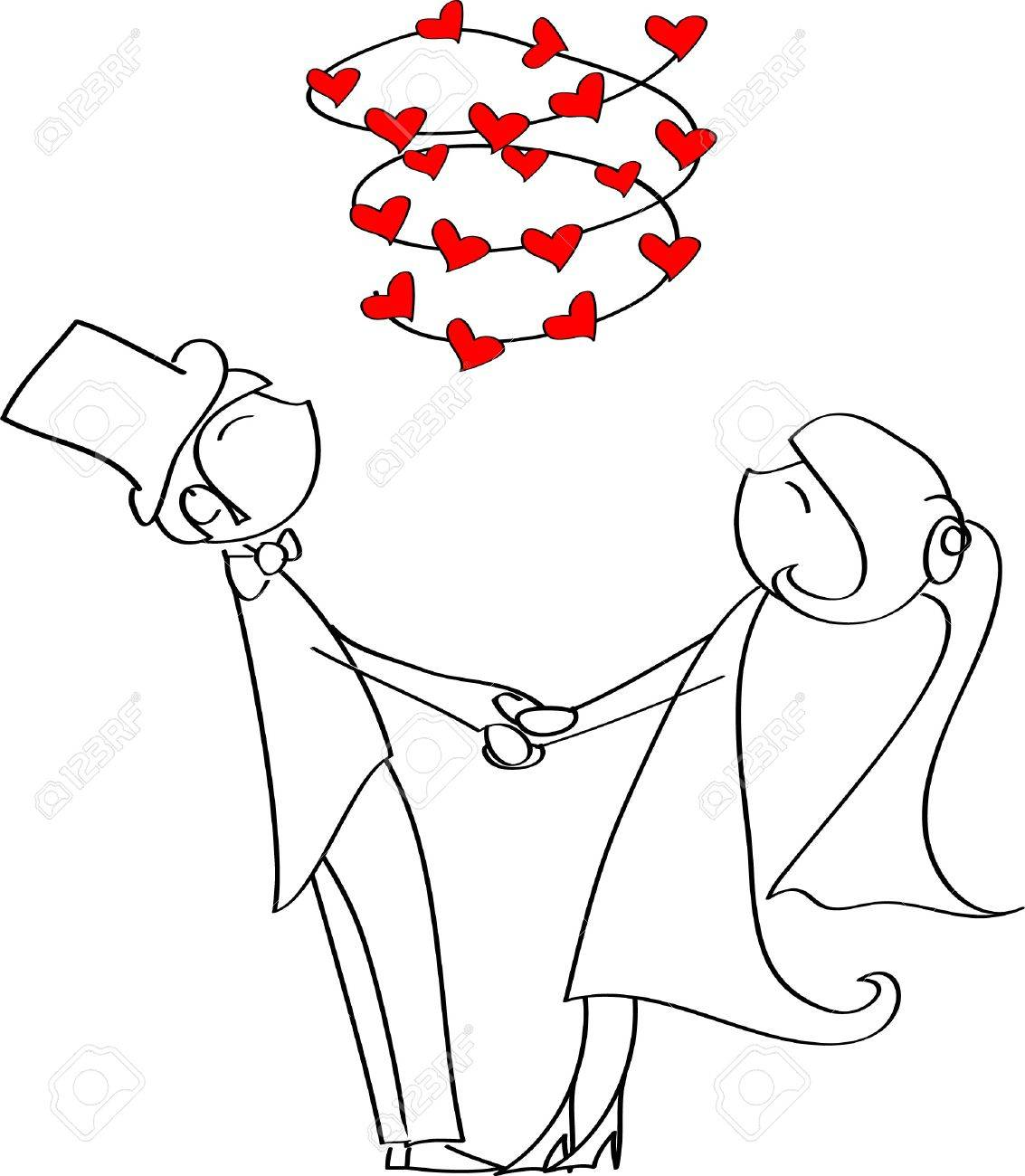 love the bride and groom circle holding hands Stock Vector - 11325628