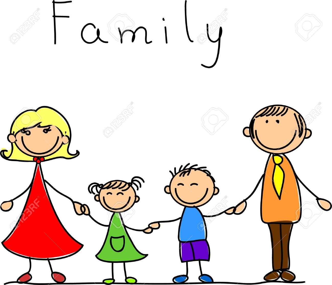 happy family holding hands and smiling Stock Vector - 11325522
