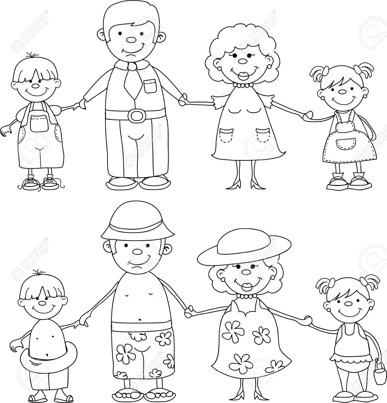 happy family holding hands at sea Stock Vector - 11325478